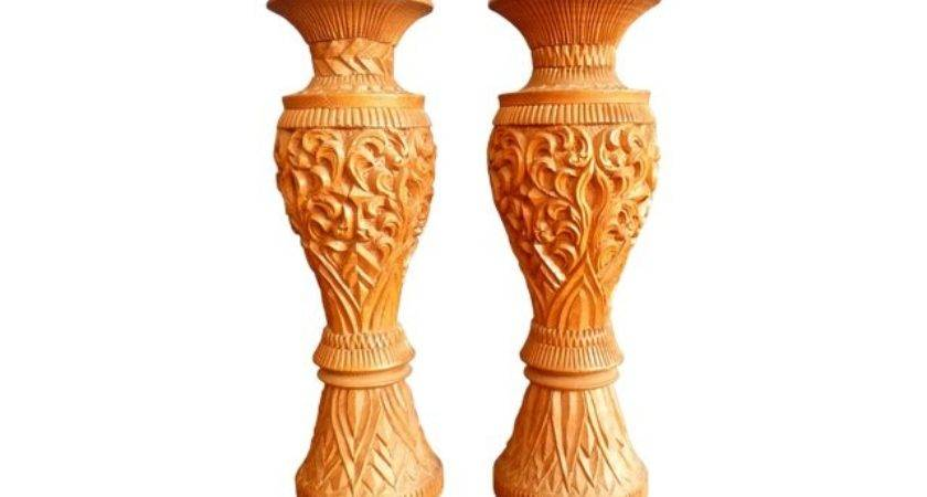 Large Carved Wood Candle Holders Pair Chairish
