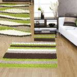 Large Chocolate Brown Lime Green Beige Striped Rug Sale Ebay