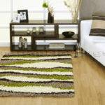 Large Chocolate Brown Lime Green Cream Beige Shaggy Rug Ebay