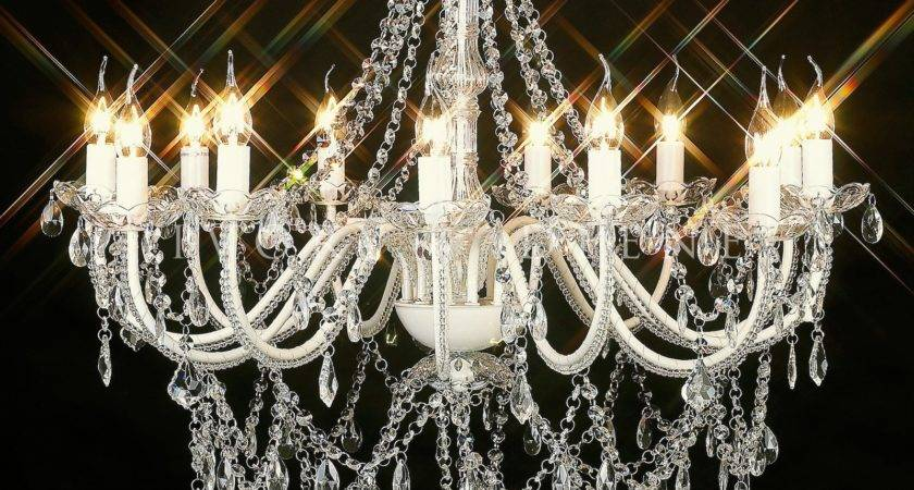 Large Light Acrylic Crystal Chandelier Cassie Ivory