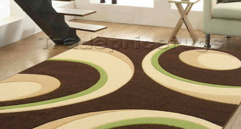 Large Modern Chocolate Brown Beige Lime Green Circles Hand