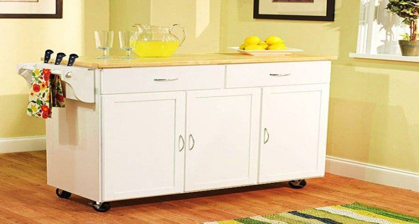 Large Rolling Cart Extra Kitchen Wood Top