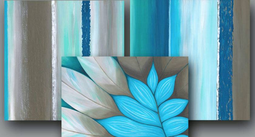 Large Wall Art Turquoise Brown Teal Abstract Bedroom Decor