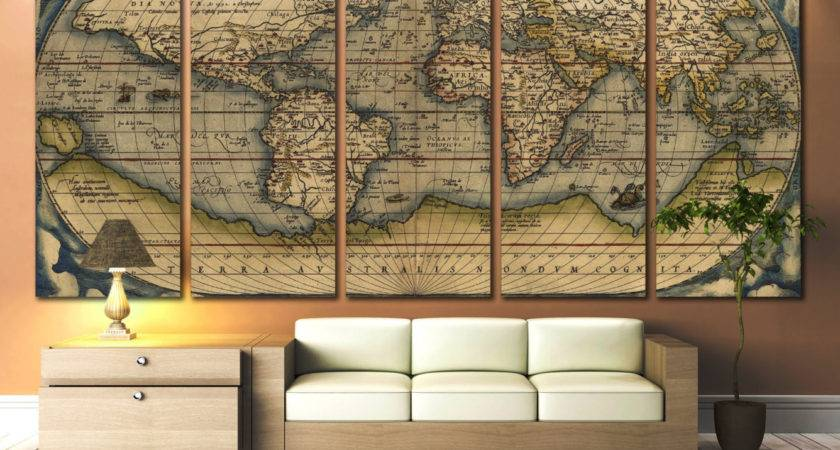 Large Wall Art World Map Canvas Print Vintage
