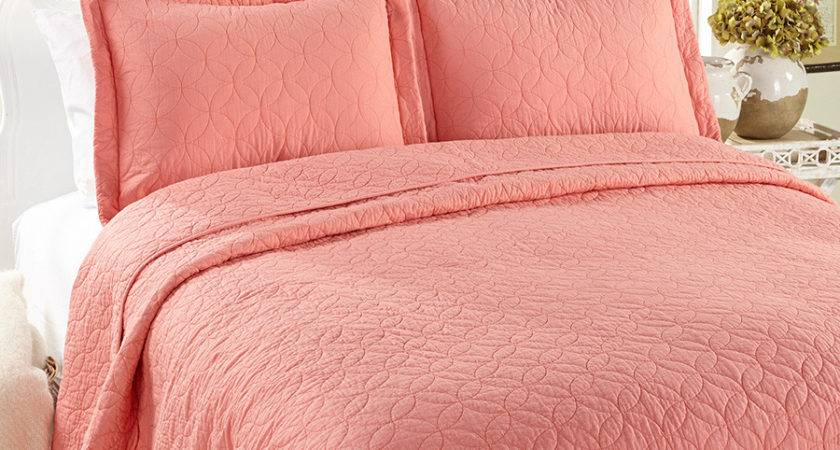Laura Ashley Solid Coral Quilt Set Beddingstyle