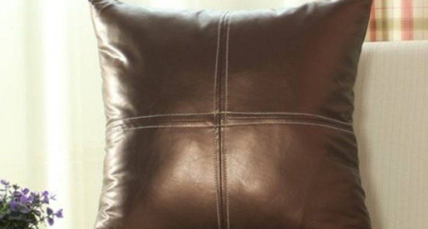 Leather Pillows Sofa Decorative Dark Brown