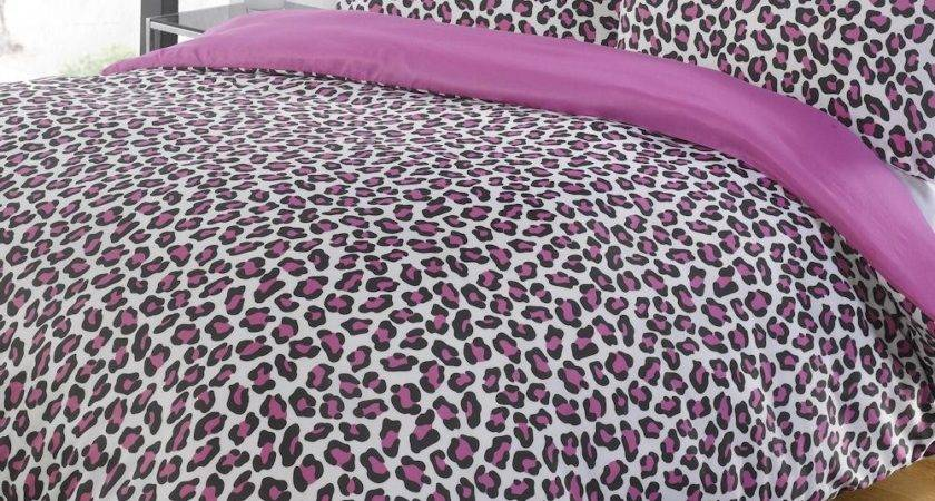 Leopard Pink Black Contemporary Animal Print Duvet Quilt