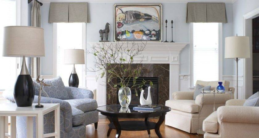 Light Blue Walls Living Room Traditional Coffee Table