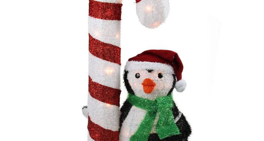 Lighted Candy Cane Penguin Outdoor Christmas Yard