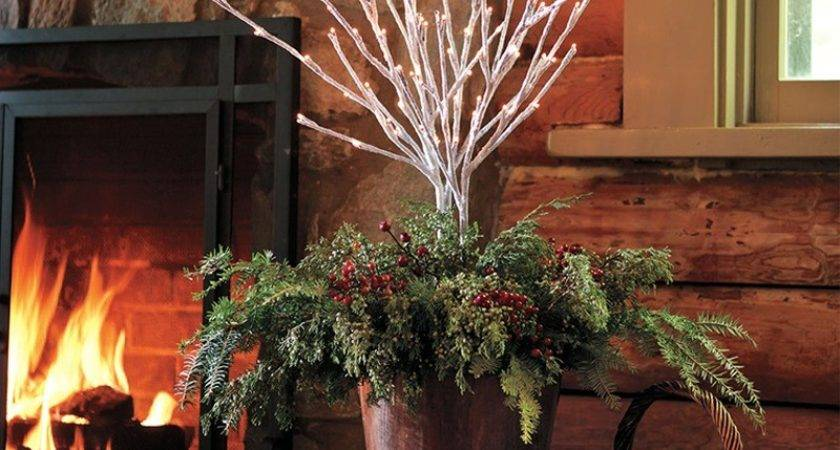 Lighted Tall Outdoor Snowy Willow Twig Decorations