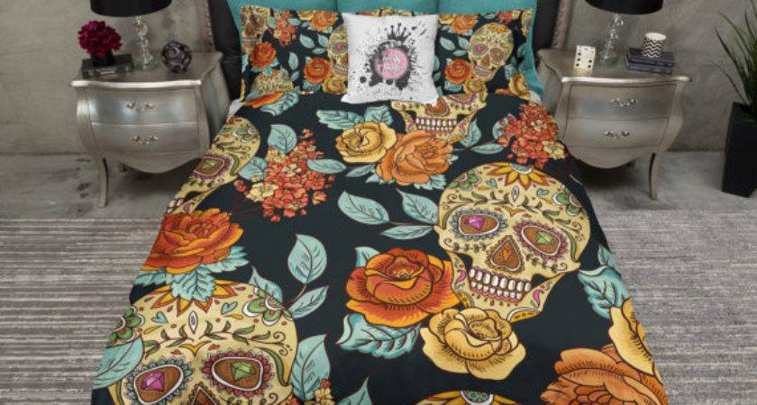 Lightweight Sugar Skull Bedding Gold Teal Rose