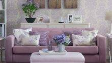 Lilac Damask Living Room Country Decorating Ideas