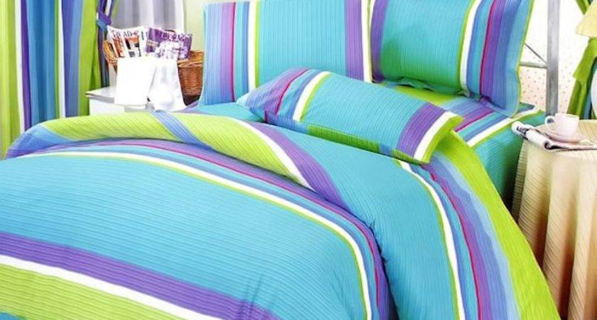 Lime Green Blue Purple Stripe Teen Girl Bedding Twin