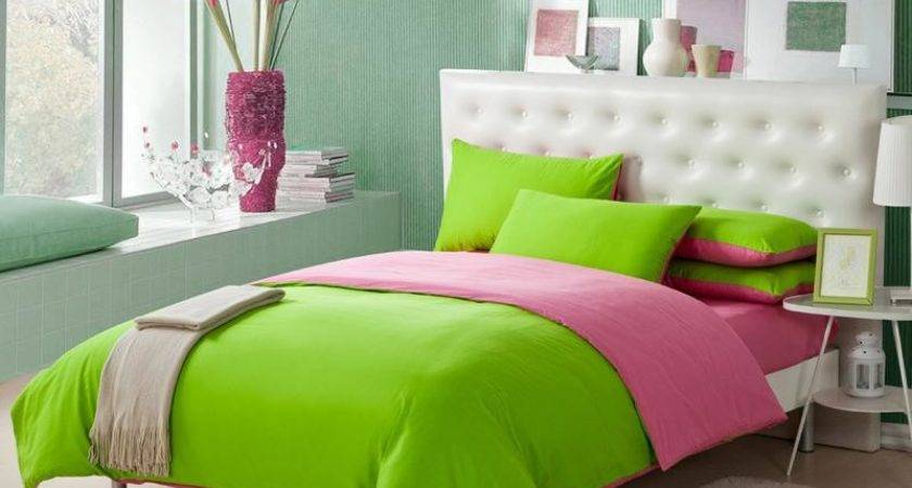 Lime Green Pink Solid Pure Color Simply Shabby Chic