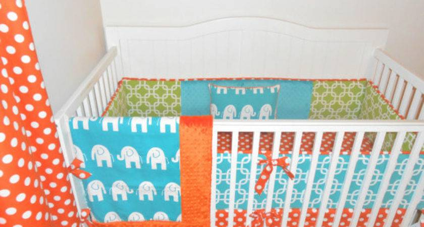 Lime Green Teal Orange Modern Crib Butterbeansboutique