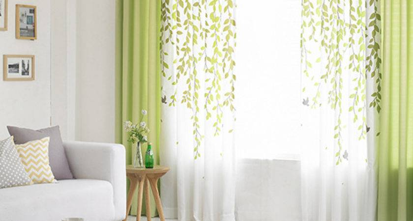 Lime Green White Leaf Print Poly Cotton Blend Country
