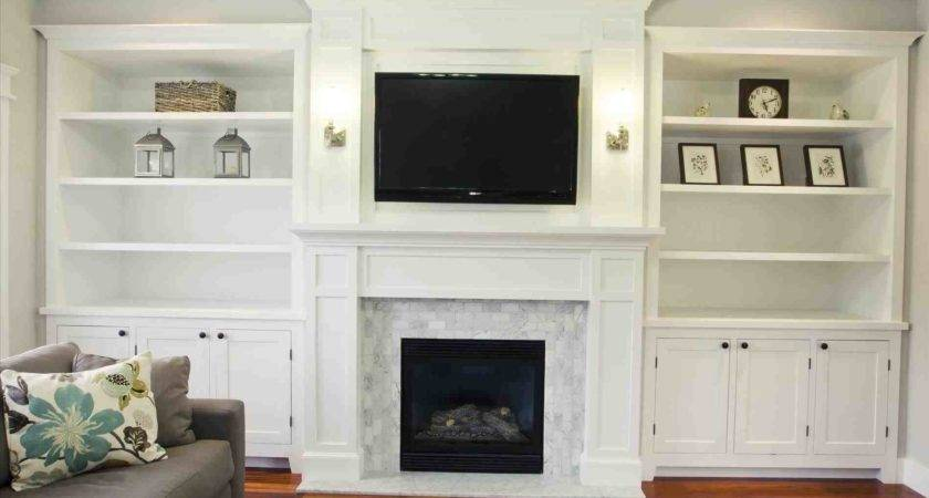 Living Room Built Cabinets Around Fireplace