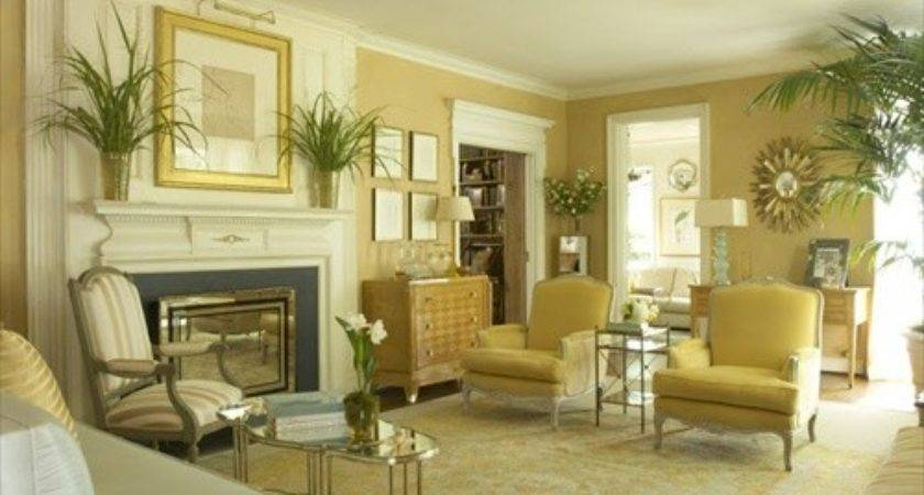 Living Room Design Butter Yellow Colored Gold
