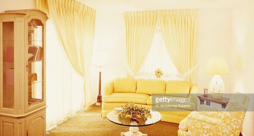 Living Room Interior Gold Carpet Yellow Couch