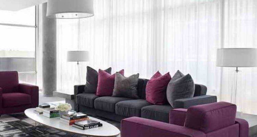 Living Room Purple Color Theme