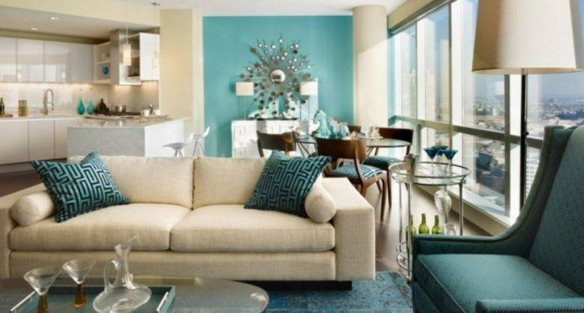 Living Room Turquoise Accents Peenmedia