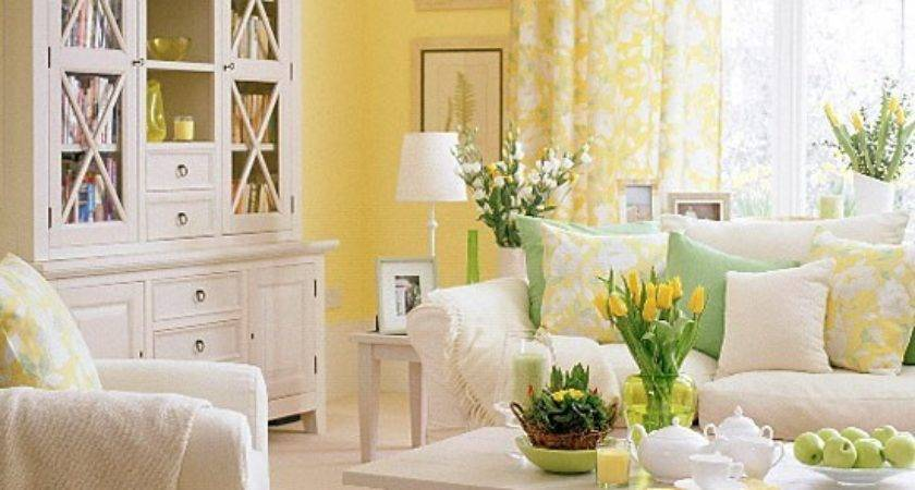 Living Room White Furniture Green Yellow