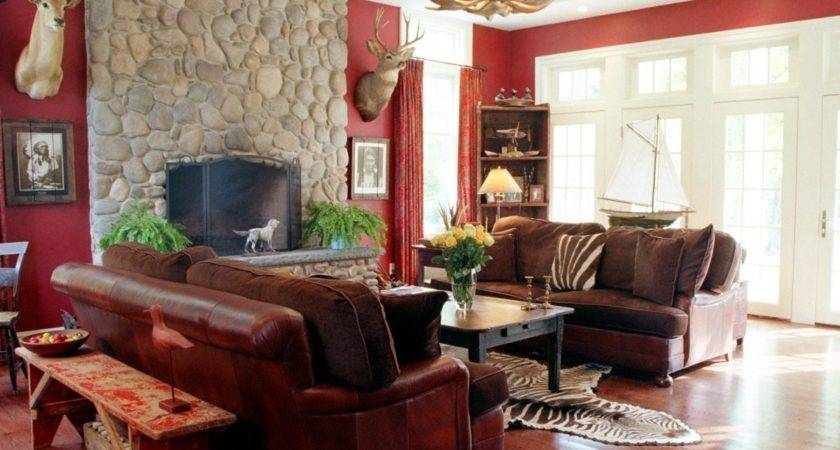 Living Roomimpressive Red Brown Room Schemes