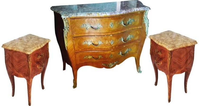 Louis French Bedroom Set Commode Nightstand Tables