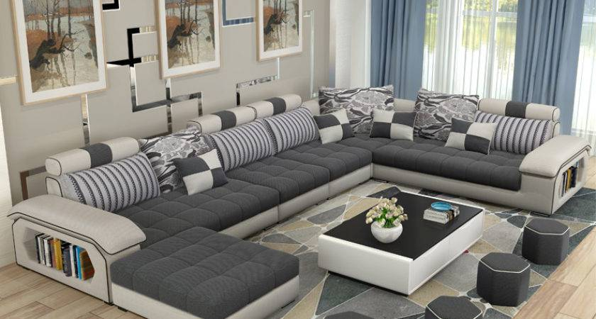 Luxury Living Room Furniture Modern Shaped Fabric Corner
