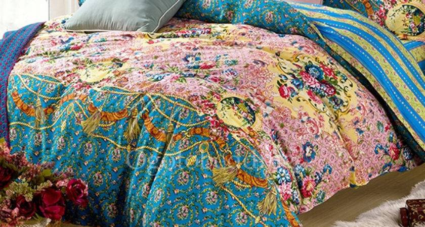 Luxury Teal Pretty Floral Queen Duvet Covers