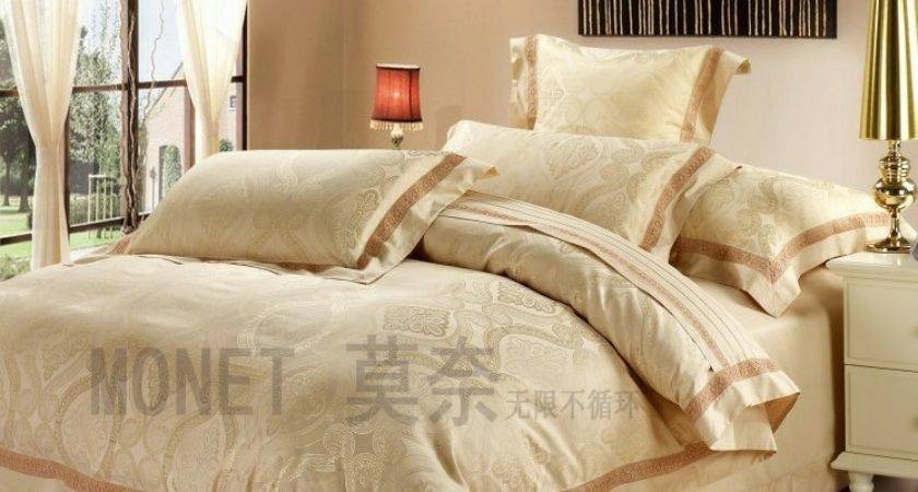 Luxury White Silver Gold Silk Satin Bedspreads Embroidered