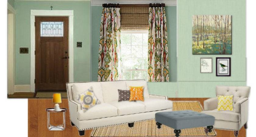 Marshall House Matters Mint Green Walls Floral Drapes