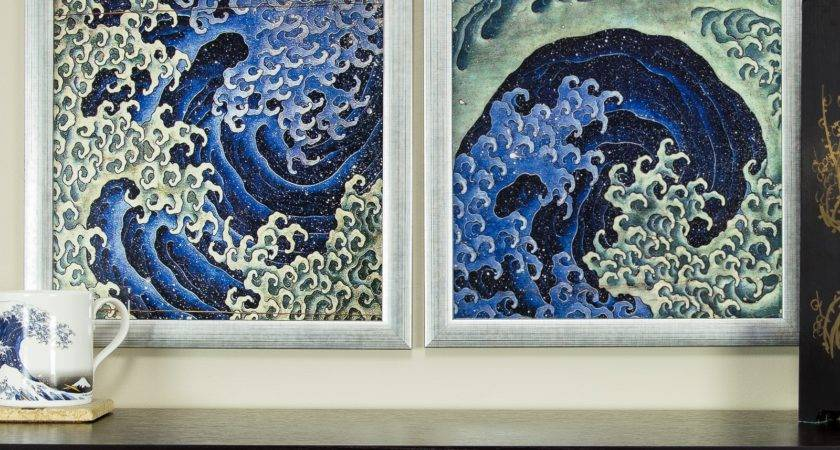 Masculine Feminine Wave Framed Asian Wall Art Set