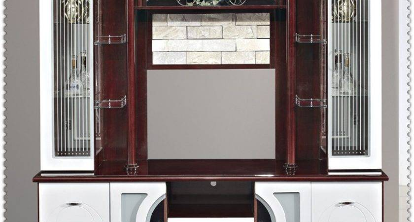Mdf Red White Living Room Cabinet Wall Units