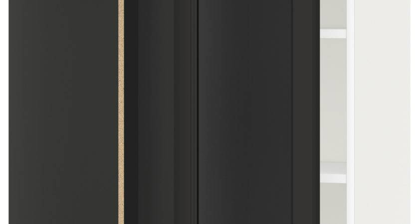 Metod Corner Wall Cabinet Shelves White Laxarby Black