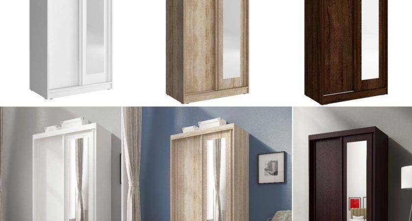 Mini Sliding Doors Bedroom Small Mirrored Wardrobe White