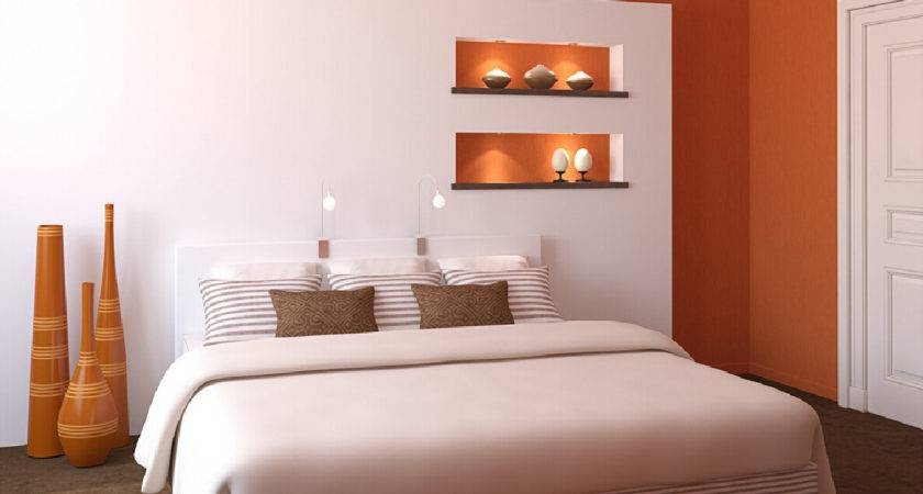 Modern Bedroom Orange White Walls House