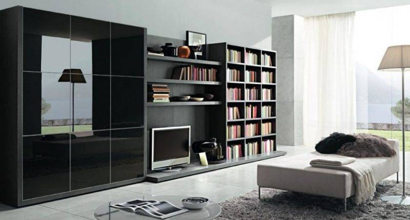 Modern Bookcase Living Room Black Color Equipped