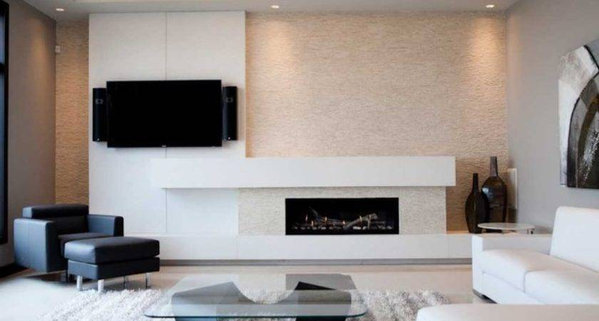 Modern Concrete Fireplace Surround Living Room