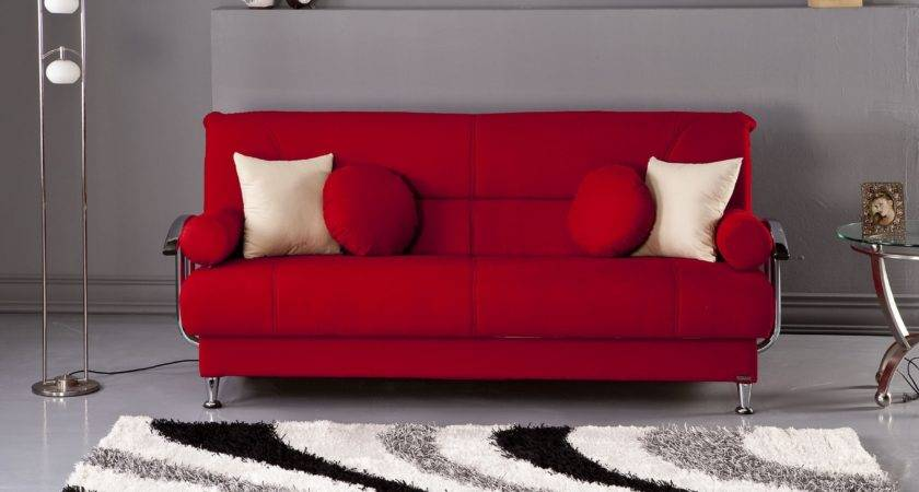 Modern Grey Living Room Design Ideas Red Sofa