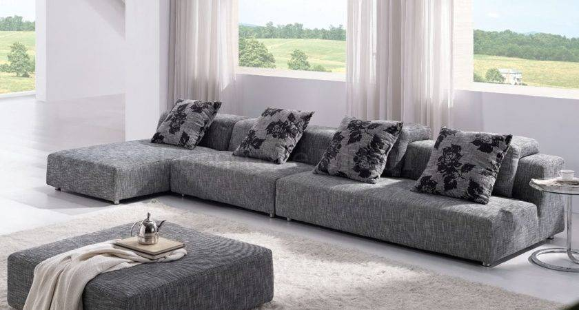 Modern Grey Sectional Modular Couch Chaise