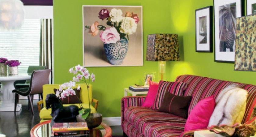 Modern Meets Retro Living Room Lime Green Walls Mix
