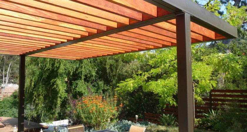 Modern Steel Wood Pergola Contemporary Patio