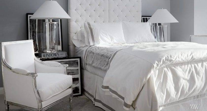 Modern White Grey Bedroom Design Features