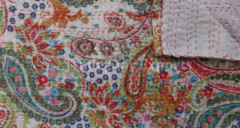 Multi Color Paisley Printed Kantha Quilt Twin