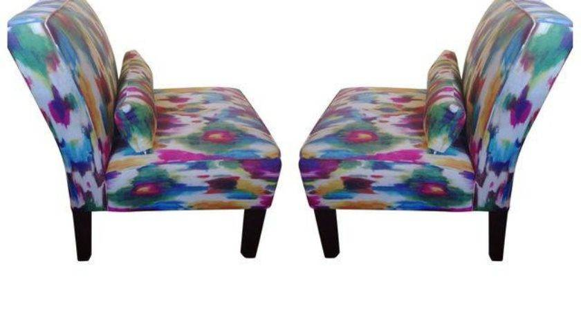 Multi Colored Accent Chairs Pair Chairish