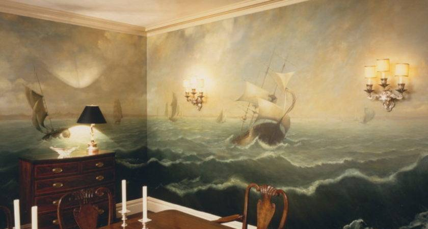 Murals Traditional Dining Room New York Anne