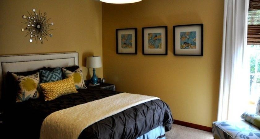 Mustard Yellow Paint Color Contemporary Bedroom