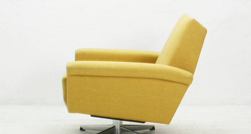 Mustard Yellow Swivel Chair Sale Pamono