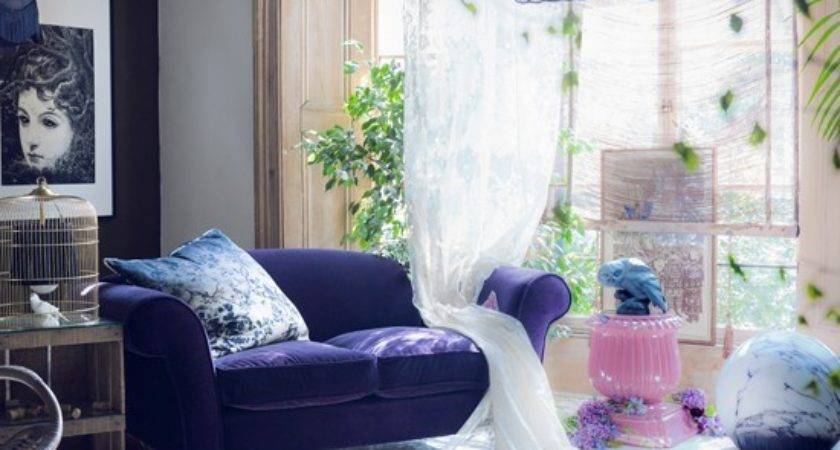 Mysterious Purple Living Room Modern Decorating Ideas